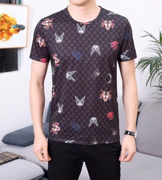 2019 new boutique fashion high quality men's cotton short-sleeved T-shirt 143#