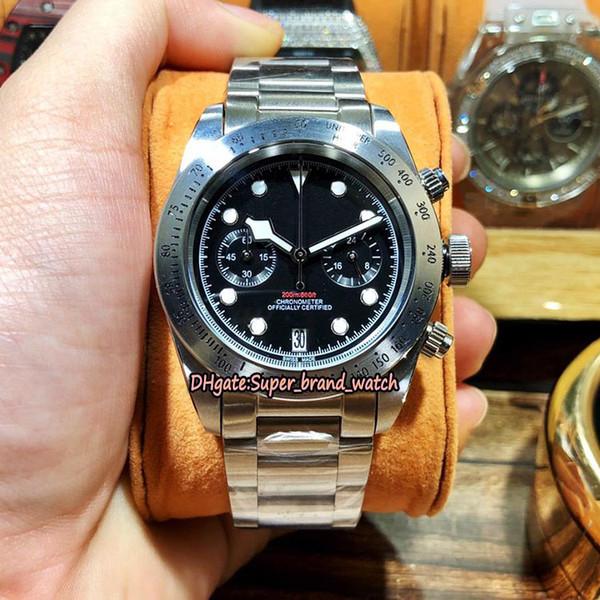 Высокое Качество Специальная Цена 79350 Черный Циферблат Япония ВК Кварцевый Хронограф Механизм Мужские Часы Стальной Корпус Ремешок Из Нержавеющей Стали Спортивные часы