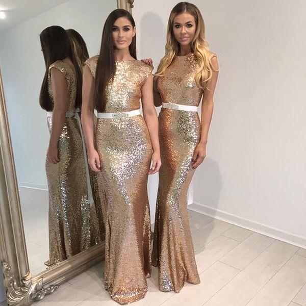 Rose Gold Long Bridesmaid Dresses Bateau Cap Short Sleeves Sequin Fabric Backless Cheap Bridesmaid Party Prom Dress Cheap