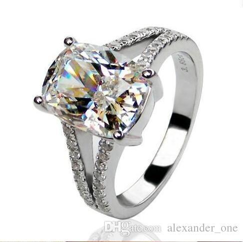 3.85CT Dream Angels Princess SONA Synthetic Diamond Engagment Wedding Ring Romantic 10KT White Gold Filled Gallant Best Gift
