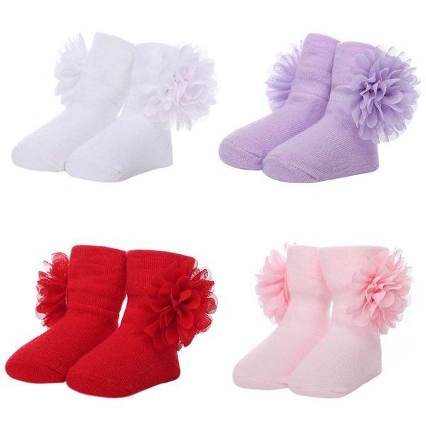 Toddlers Baby Long Ankle Socks Big Flower Solid Color Cotton Winter Warmer 0-6M Children's Socks