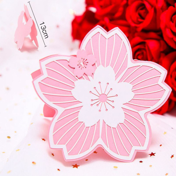 Cherry Blossom Shape Festival Wedding Invitation Card Partito Scultura biglietti di auguri Vendita calda Event Party Supplies