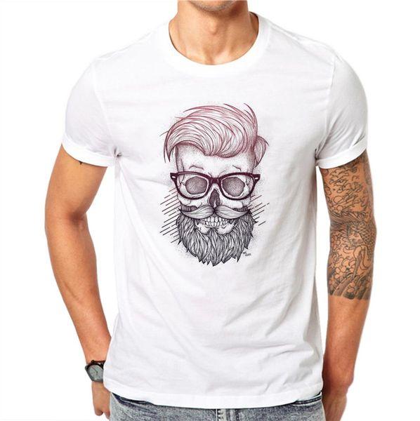 100% algodón barba cráneo hombres moda cuello redondo diseño de impresión 3D personalizado camiseta blanca Hip Hop talla grande 4XL manga corta