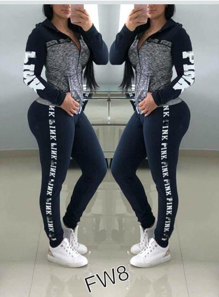 best selling Women Love Pink Letter Tracksuit Plus Size Outfit girls sportswear Hoodie long Pants Trousers 2 pieces set Spring yoga Casual Clothes Suit