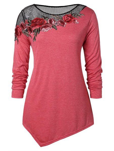 Kenancy Artı Boyutu Fishnet Yüksek Düşük Hem Aplike Kadın T-Shirt Çiçek Nakış Asimetrik Kadın Tee Streetwear 5XL Tops