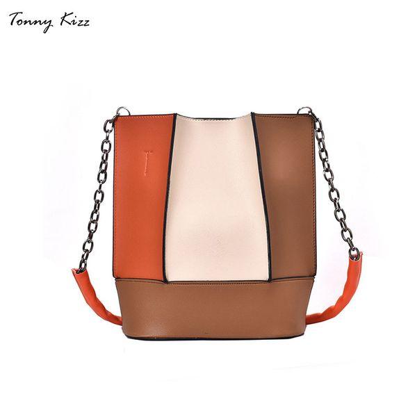 Tonny Kizz bucket women shoulder bags patchwork crossbody bags for women fashion handbag messenger chain strap blue white