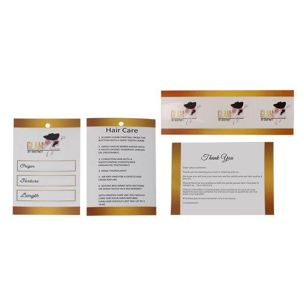 Extensiones de cabello personalizadas Conjuntos de paquetes de paquetes, pegatinas autoadhesivas, etiquetas colgantes de papel para el precio del cabello, tarjeta de agradecimiento