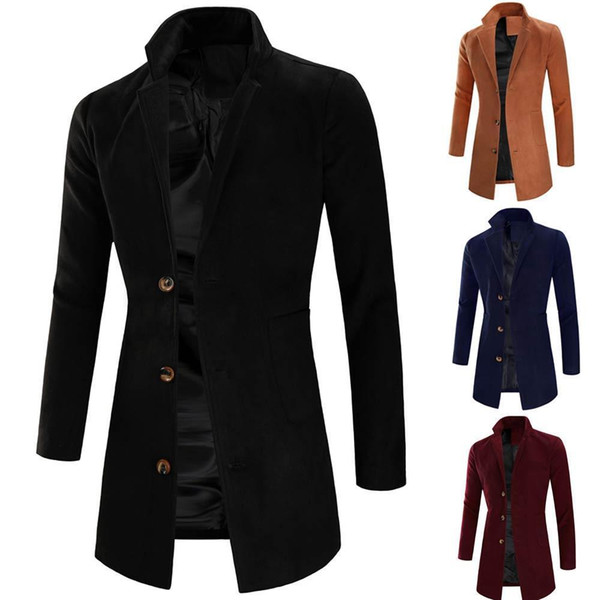 Mens Jacket Warm Winter Trench Long Outwear Button Smart Overcoat Coats Korean Men Slim Fit Trench Parkas For Autumn