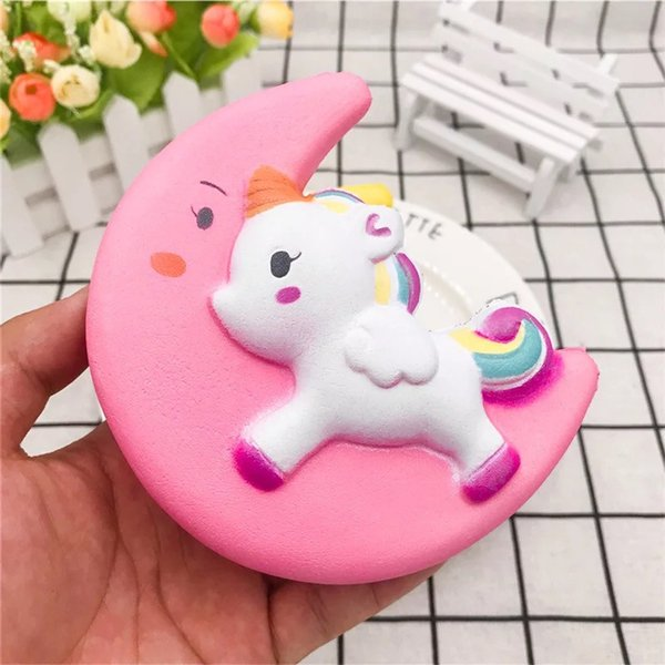 INS Fidget Moon Unicorn Squishy Slow Rising Flash Powder Charms Jumbo Kawaii Phone Straps Pendant Stress Reliever toys kids Birthday Gift