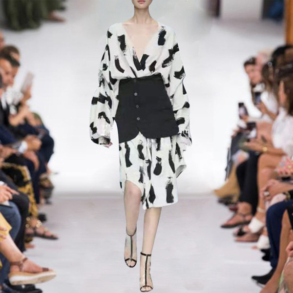 2019 Estate autunno manica lunga con scollo a V polpaccio abito scollo a V moda stampa cintura di lusso abiti da passerella JL2414A2-7