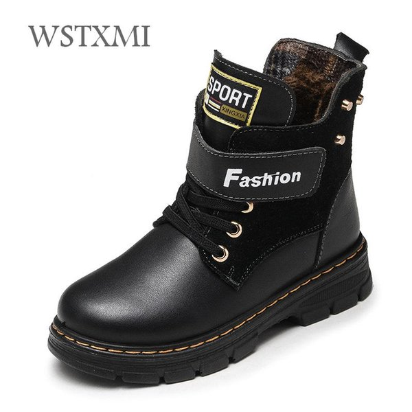 Autumn Winter Kids Boots Genuine Leather for Boys Shoes Fashion Mid-Calf Snow Boots Plush Warm Waterproof Children Martin