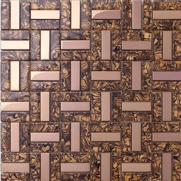Glass stainless steel mosaic kitchen backsplash tile gold metal glass wall tile SSMT073