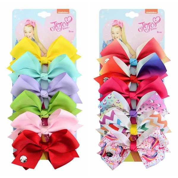 6pcs/lot Bows Hairpin for Baby Girls 5inch Swia Style Rainbow Unicorn Heart Print Hairpins Children Bowknot Hair Clip Hair Accessory