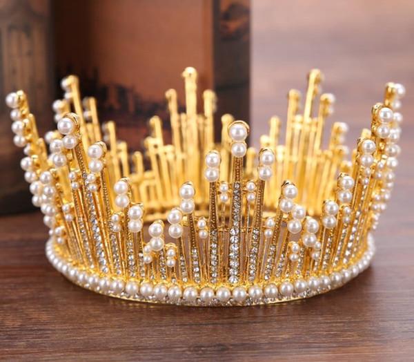 Bride Headdress Baroque Beautiful Pearl Crown Bride Princess Crown Wedding Dress Accessory Crown Hair Ornament