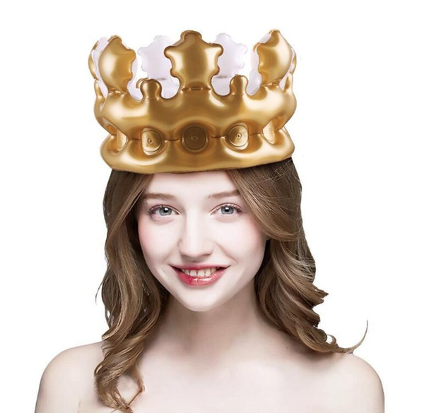 PVC Creative Inflatable Gold Crown Balloon Kids Birthday Party Hats Toys Gift DIY Inflated Toy Birthday Cosplay Tools Stage Props Wedding