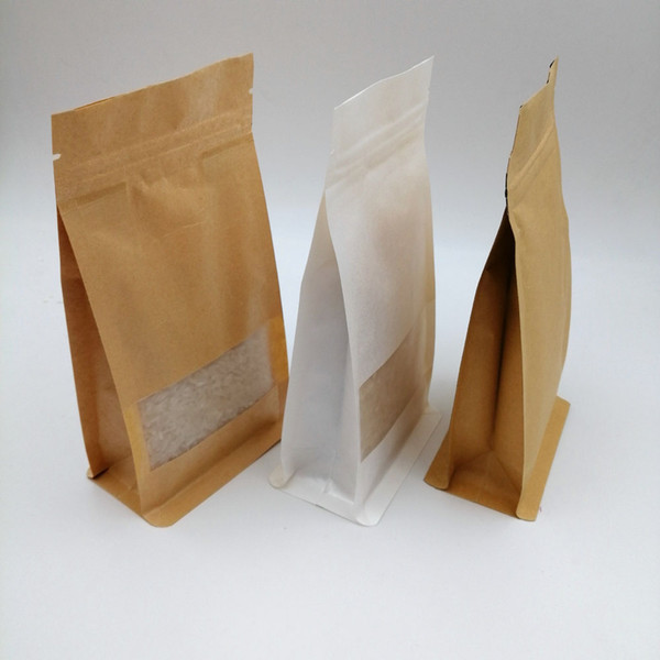 16x26x8cm 50pcs White/Brown Kraft Paper Bag For Gifts Christmas Food Tea Candy Zip Lock Kraft Paper Bag With Window Stand Pouch