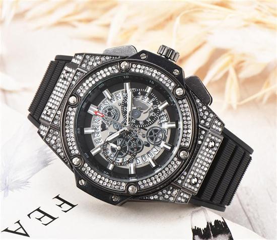 Men 039 fa hion large dial quartz watche luxury men 039 fully functional quartz rhine tone diamond inlay clock dial quartz watche
