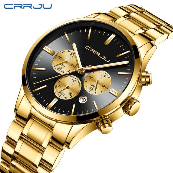 CRRJU Men Stainless Steel Band Watch Men's Luxury Business waterprof Quartz Wrist Watches Male Date Window Clock Erkek Kol Saati