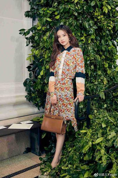 1017 2019 Robe piste d'automne Flora Robe imprimée Lapel cou mi-mollet à manches longues de sirène Mode femme Vêtements de mariage AS