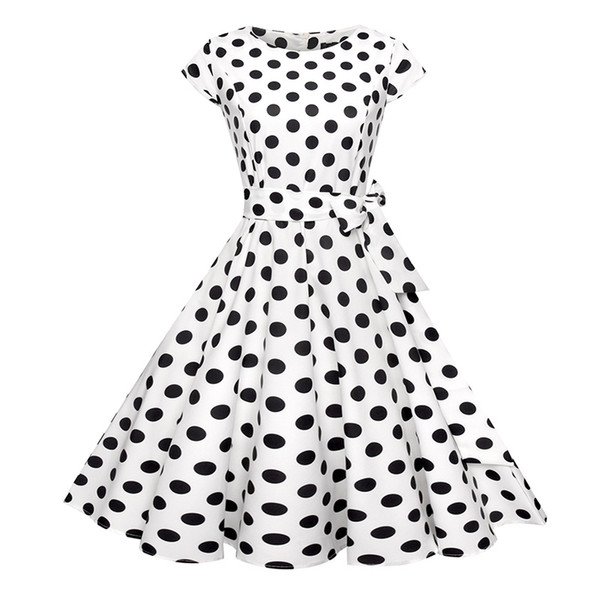 Polka Dot Dress Bohemian Mini Dresses Short Sleeve Mini Dress