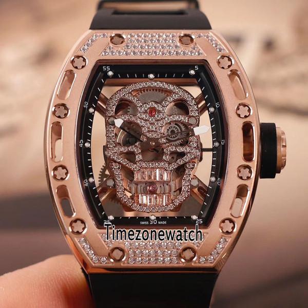 High Quality 052 Rose Gold Diamond Bezel Skull Skeleton Dial Tourbillon Automatic Mens Watch Black Rubber Sports Watches Timezonewatch E03c3