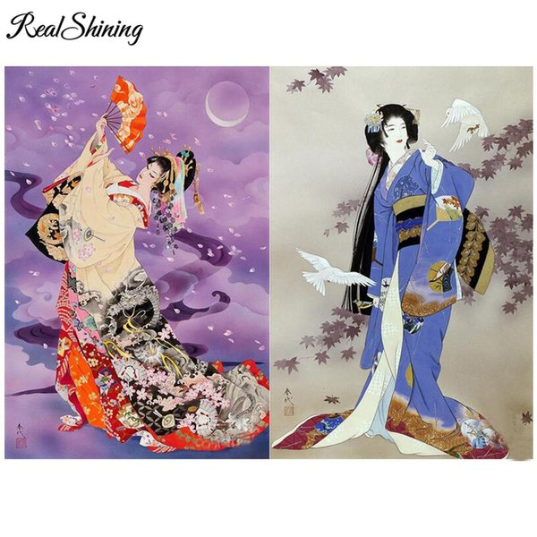 5D Diamond Embroidery,Oriental Woman Japanese Geisha Diy Diamond Painting Mosaic full square round drill Picture wall art FS4536