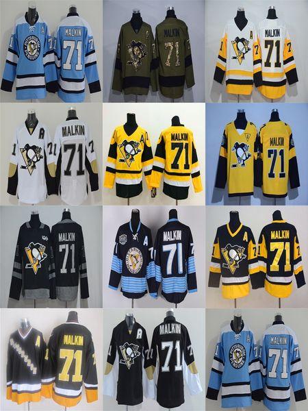 2016 Cheap stitched new Pittsburgh Penguins #71 Evgeni Malkin black/White /camo ice hockey jersey/shirt/sportswear