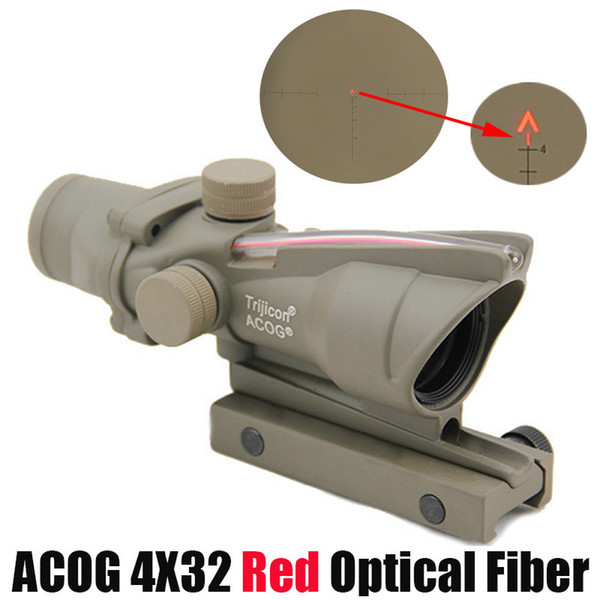 Tactical ACOG 4X32 Fiber Scope Red Dot Illuminated Chevron Glass Etched Reticle Red Fiber for Hunting