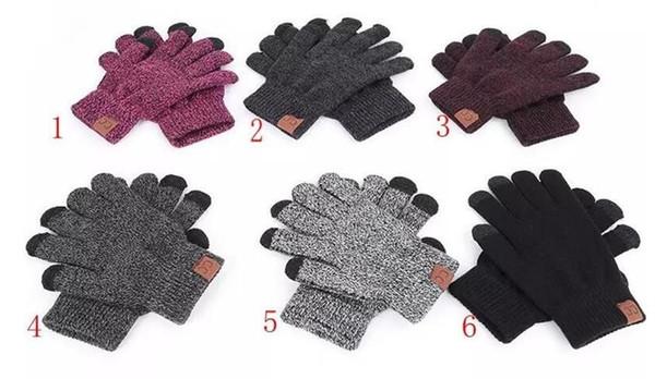 CC Gants Tricotés Homme Femme solide hiver chaud gant portable sports de plein air Five Fingers Gants écran tactile pour iPhone XS MAX sac OPP