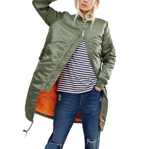 Chaquetas y abrigos largos de invierno 2017 capa femenina de primavera militar verde oliva chaqueta bomber verde mujeres chaquetas básicas más tamaño