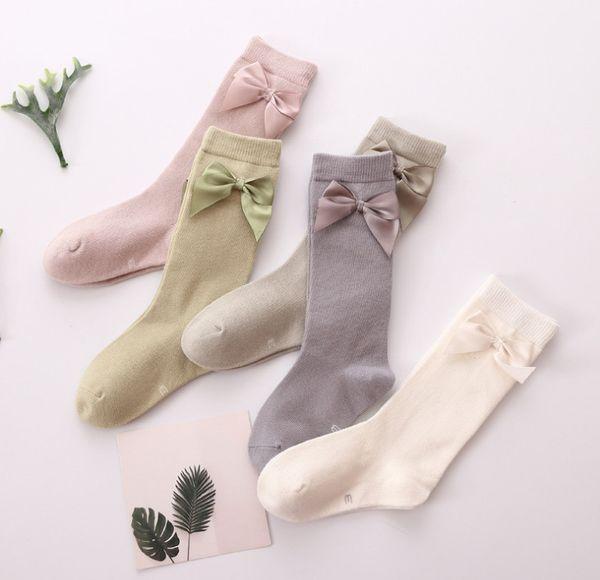 Kindersocken 2019 Frühjahr neue Mädchen Band Bögen Prinzessin Socken Kinder Baumwolle gestrickte 3/4 Kniestrümpfe Babysocke fit 1-8T F3173