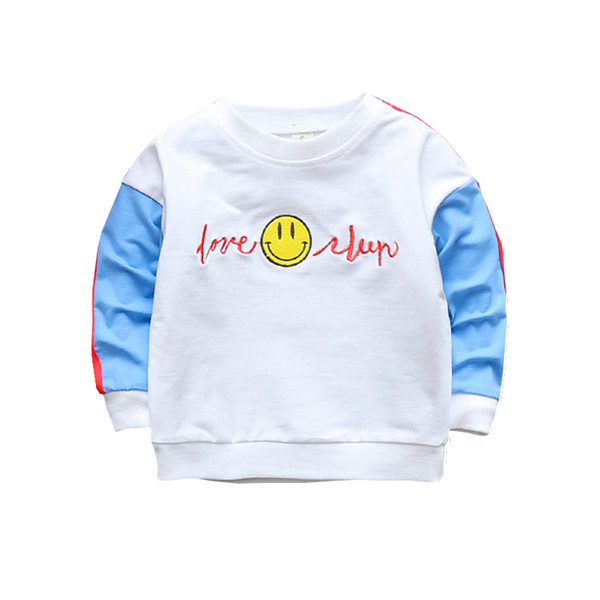 Spring Autumn Children Boys Girls Cotton Clothes Baby Cartoon Smile T-shirt Fashion Kdis Casual Clothing Toddlers Sport Costume