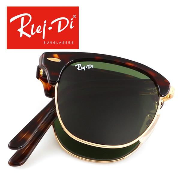 Folding Club Sunglasses for Men Women Soscar Authentic Brand Designer Sunglasses 51mm Plank Frame Glass Lenses Metal Hinge with Original Box