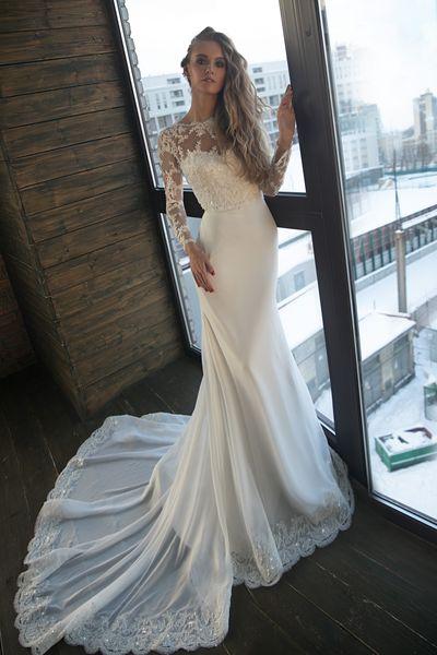 Boho Wedding Dress Mermaid Long Sleeve Open Back Wedding Dress Bridal Gowns 2019 Bead Lace Chiffon Beach Wedding Gown Bride Formal Gown