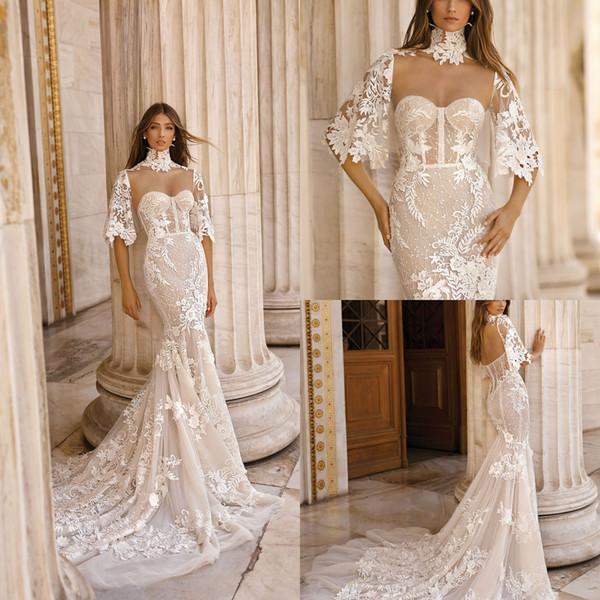 Splendida Berta Mermaid 2019 Abiti da sposa Con Wrap abiti da noiva Perline Sweetheart Pizzo Abiti da sposa Beach Sweep Train Wedding Dress