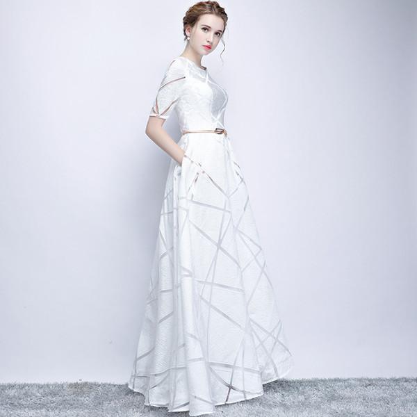 Vintage Long Sleeve White Lace Prom Dresses 2019 Off-Shoulder Appliques Sequins A-Line Special Occasion Dresses Charming Evening Dresses