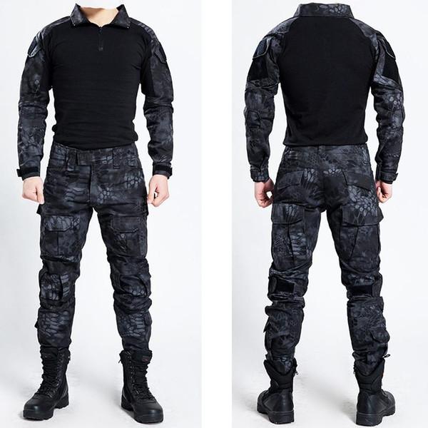 Taktik Bdu Üniforma Giyim Ordu Taktik Gömlek Ceket Pantolon kemer Kamuflaj Avcılık Giysi Ile Kryptek Siyah