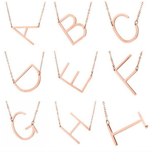 Personnalisé initiale lettre Pendentif Collier femmes 26 Alphabet Or Argent Rose Or Charme Chaîne Pour hommes Mode Bijoux Cadeau