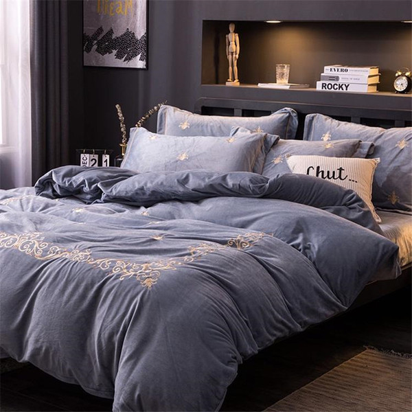 Blancstar 2019 New Four-piece Bedding Set Bed Linen Stitch Comforter Bedding Sets Thickened Crystal Velvet Embroidery Cama