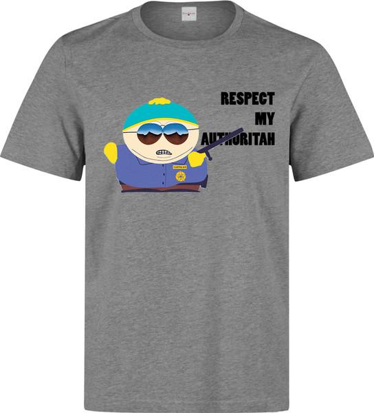 Maglietta grigia del capo di Cartman rispetto della maglietta degli uomini della maglietta del sud di Top Authorityh delle donne Maglietta unisex di modo delle donne Trasporto libero