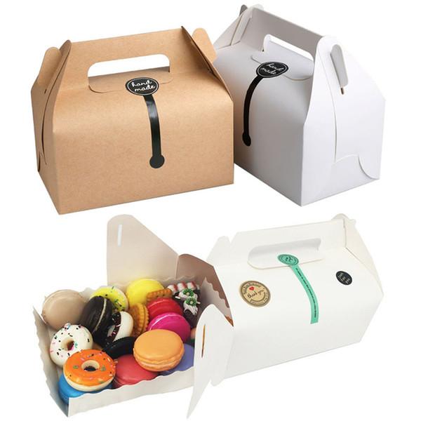 Kraft Cake Paper Box Con 16.2 * 9.2 * 9.5cm Manija Cajas de embalaje para el banquete de boda Bueno para el regalo hecho a mano, comida, jabón, muffin, galleta