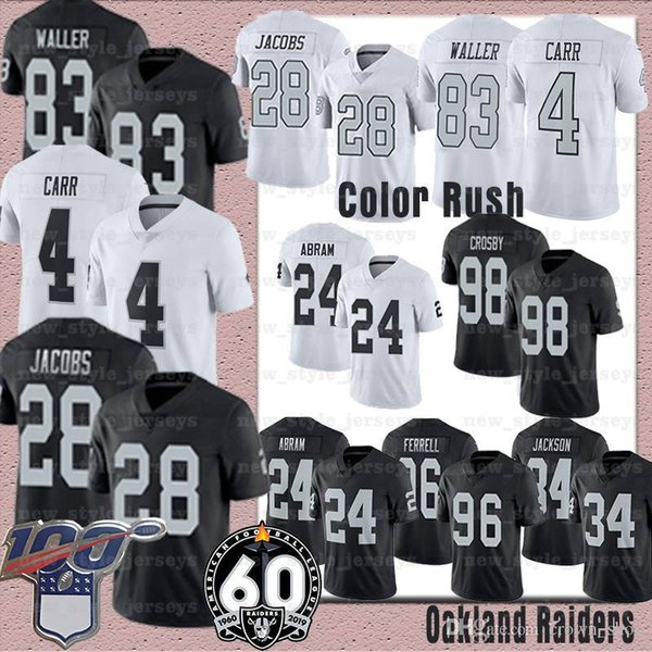 Oakland 83 Darren Waller Oakland Jersey 4 Derek Carr Raider 34 Bo Jackson 98 Maxx Crosby 24 Johnathan Abram Clelin Ferrell Jordy Nelson