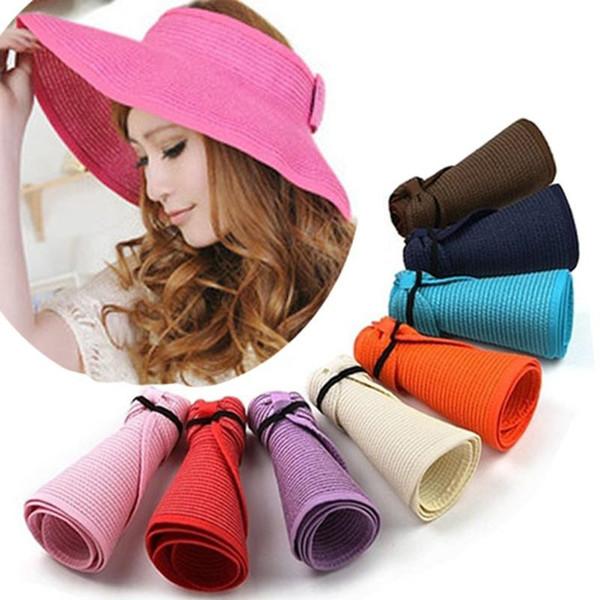 Hot Women Large Floppy Visor Hat Foldable Straw Boho Wide Brim Hat Summer Beach bowknot Lady Sunscreen Caps Roll Up dc235