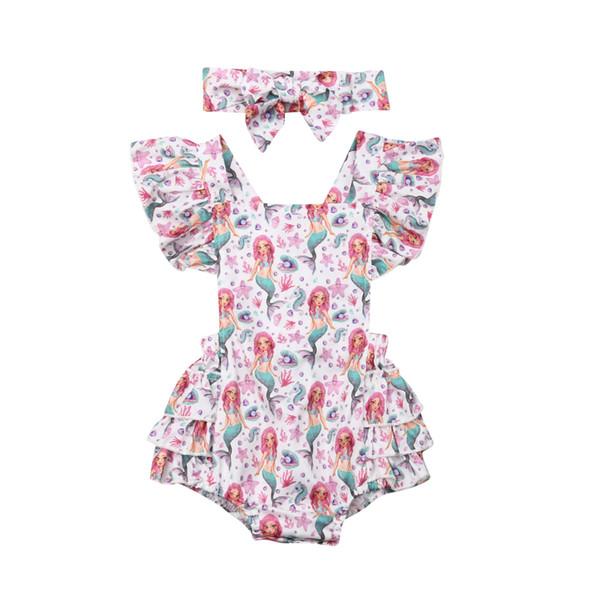 US Newborn Baby Girls Mermaid Romper Bodysuit Jumpsuit Headband Outfits Clothes