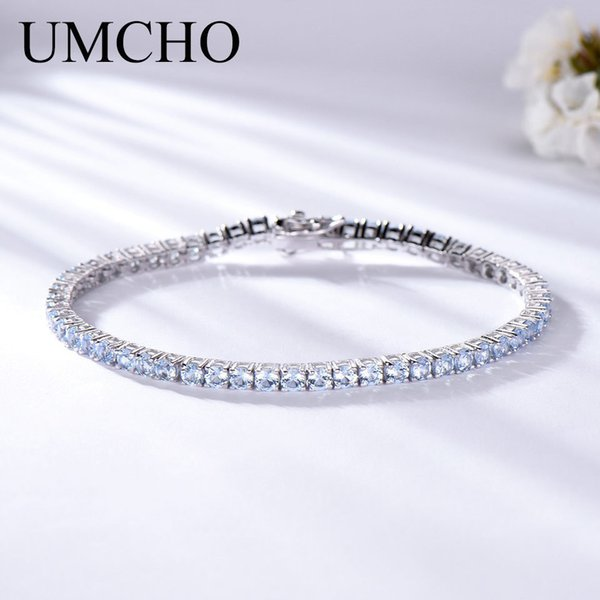Umcho Luxury Created Nano Sky Blue Topaz Jewelry Real 925 Sterling Silver Bracelets & Bangles Romantic For Women Gifts J190524
