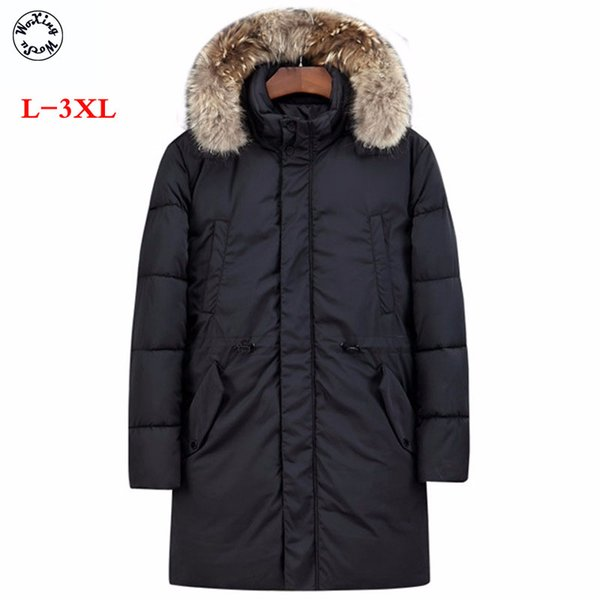 Woxingwosu winter men's parkas cotton Garments thickened and fattened large collar hat jacket long sleeve warm coat L-3XL
