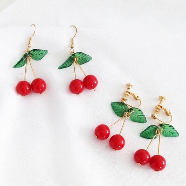 Brincos 2019 Jóias Doce Fruta Verde Folha Cereja Vermelha Dangle Mulheres Ear Hook Clipe Brincos Para As Mulheres Jóias