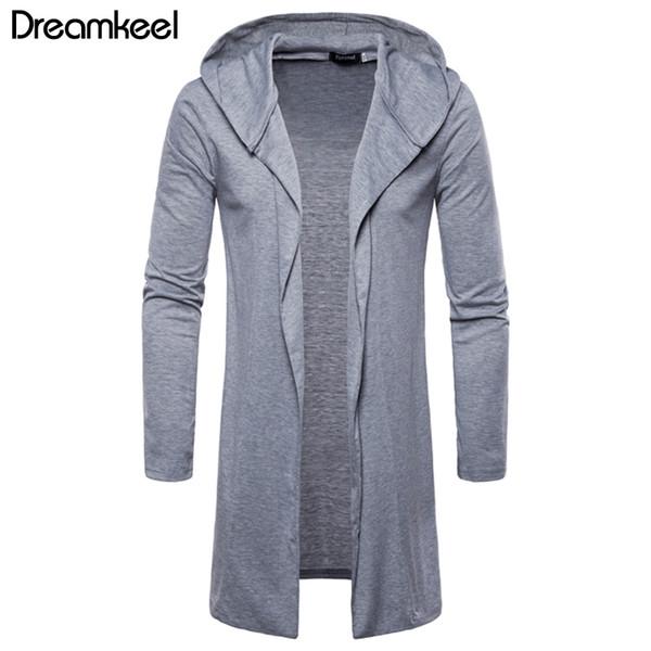2019 YENI arriver erkekler Rahat Polyester Moda Erkek Kapşonlu Katı Trençkot Ceket Hırka Uzun Kollu Dış Giyim Bluz Y