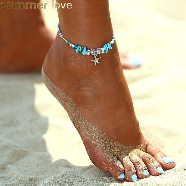 Cavigliere del pendente della stella marina della Boemia per le donne Ragazze Nuovo braccialetto della catena del tallone di cristallo sui regali dei monili della cavigliera della spiaggia di estate della gamba