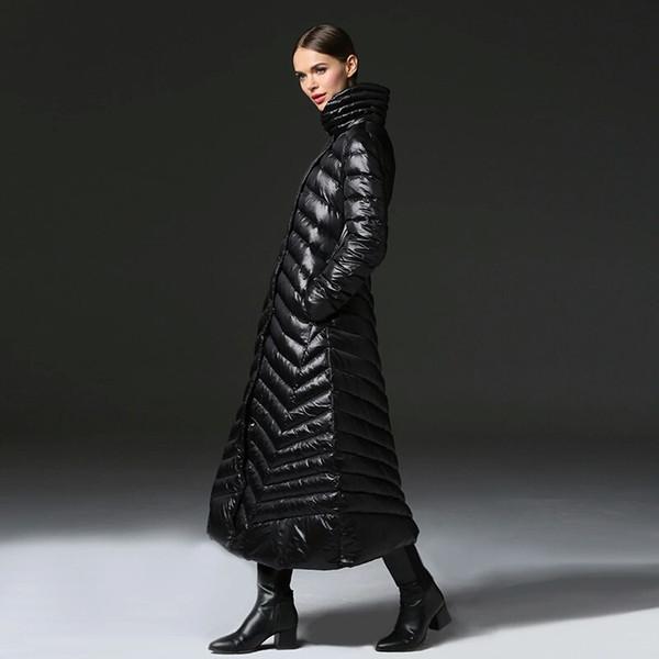 black women winter parka maxi down jacket luxury designer womens 90% white duck down filled long coats office lady style belt coat size ML